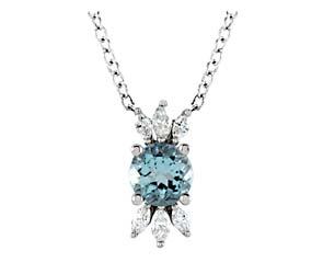 Accented Aquamarine Diamond Pendant