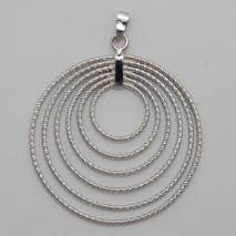 14K White Gold 6 Ring Flat Pendant