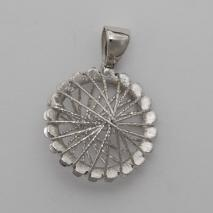 14K White Gold Wire Wrapped Round Pendant