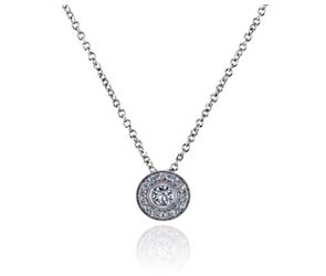 Round Halo Bezel Set Diamond Button Pendant