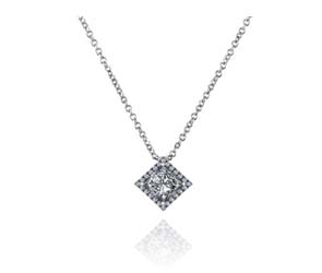 Princess Cut Halo Button Pendant