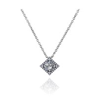 Princess Cut Halo Button Pendant 1.05 Carat Total Weight