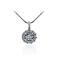 Round Halo Diamond Pendant 1/2 Carat Total Weight