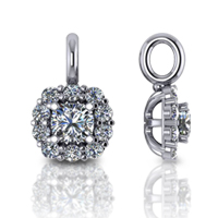 Cushion Halo Drop Pendant 0.45 Carat Total Weight