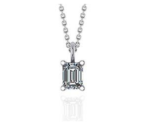 Solitaire Emerald Cut Diamond Pendant