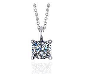 Solitaire Cushion Cut Diamond Pendant