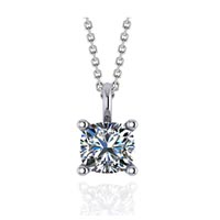Solitaire Cushion Cut Diamond Pendant 3/4 Carat Total Weight
