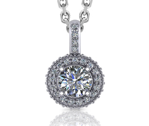 Round Halo Beaded Diamond Pendant