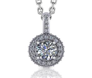 Round Halo Beaded Diamond Pendant