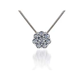 Floral Diamond Button Pendant