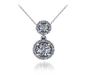Two Stone Halo Diamond Pendant