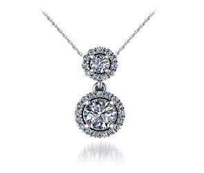 Two Stone Halo Diamond Pendant