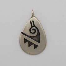 Sterling Silver Oval Water Hopi Pendant - Bu Lee (artist)