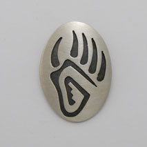Sterling Silver Oval Bear Paw Pendant - Nathan Fred