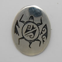Sterling Silver Oval Turtle Pin/Pendant - Daren Saas (artist)
