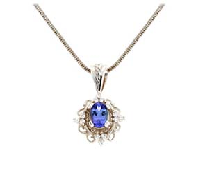 Tanzanite and Tri Diamond Cluster Pendant