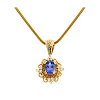 Tanzanite and Tri Diamond Cluster Pendant 1.07 Carat Total Weight