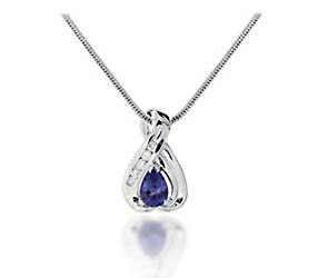 Pear Shape Tanzanite and Diamond Pendant