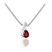 Pear Shape Ruby & Diamond Pendant .90 Carat Total Weight