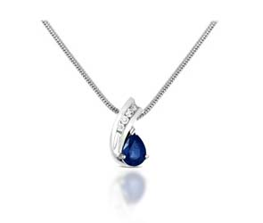 Pear Shape Blue Sapphire & Diamond Pendant 1.0 Carat Total Weight