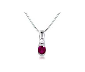 Half Bezel Oval Ruby & Diamond Pendant