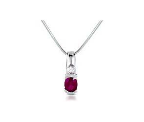 Half Bezel Oval Ruby & Diamond Pendant