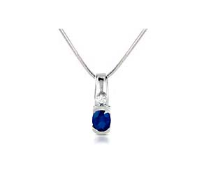 Half Bezel Oval Blue Sapphire & Diamond Pendant