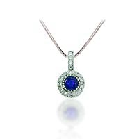 Blue Sapphire & Diamond Pendant .90 Carat Total Weight