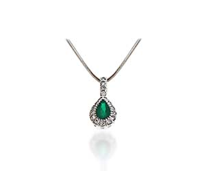 Pear Shape Emerald & Diamond Pendant