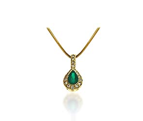 Pear Shape Emerald & Diamond Pendant 5/8 Carat Total Weight