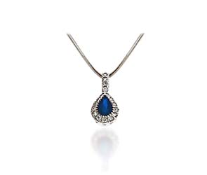 Pear Shape Sapphire & Diamond Pendant 3/4 Carat Total Weight