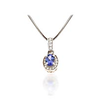 Tanzanite and Diamond Pendant 1.21 Carat Total Weight