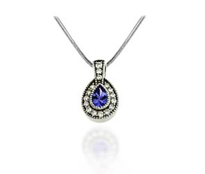 Pave Set Oval Tanzanite & Diamond Pendant