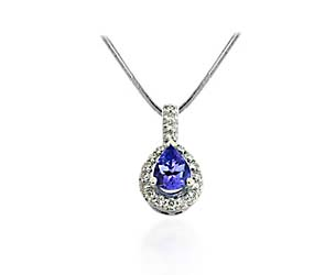 Pear Shaped Tanzanite & Diamond Pendant