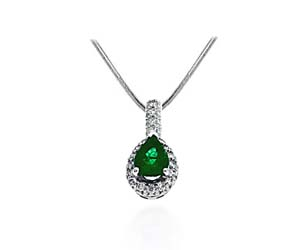 Emerald Trilean Cut & Diamond Pendant