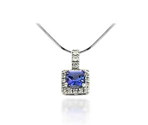 Princess Cut Tanzanite & Diamond Pendant 1.0 Carat Total Weight