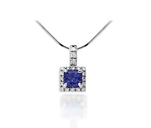 Cushion Cut Tanzanite & Diamond Pendant