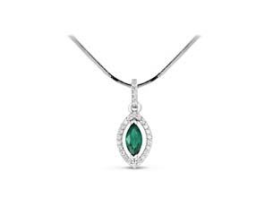Marquise Shape Emerald & Diamond Pendant