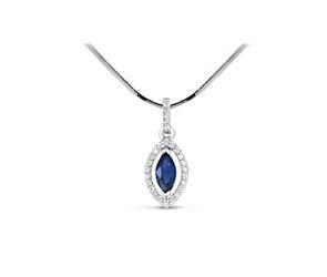 Marquise Shape Sapphire & Diamond Pendant