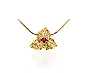 Red Ruby & Diamond 3 Clover Pendant 0.82 Carat Total Weight