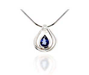 Pear Shape Tanzanite & Diamond Pendant