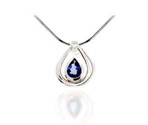 Pear Shape Tanzanite & Diamond Pendant