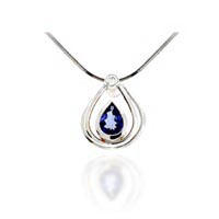 Pear Shape Tanzanite & Diamond Pendant 1.14 Carat Total Weight