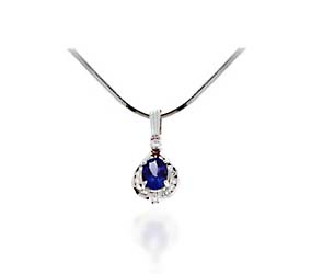 Oval Tanzanite & Diamond Accented Pendant