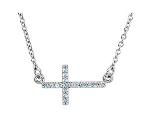 Aquamarine Sideways Cross Pendant