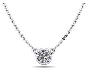 Simply Solitaire Bezel Set Diamond Pendant