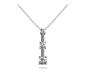 Diamond 4 Prong Set 3 Stone Pendant