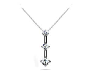 4 Prong Set Diamond 3 Stone Pendant