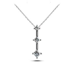 Princess Cut 3 Stone Pendant