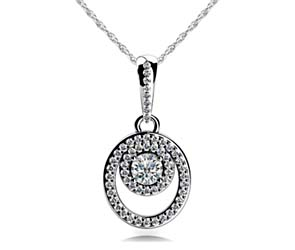 Circle of Life Diamond Halo Pendant